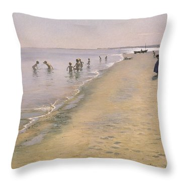Summer Day At The South Beach Of Skagen Throw Pillow by Peder Severin Kroyer