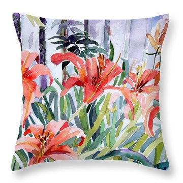 My Summer Day Liliies Throw Pillow by Mindy Newman