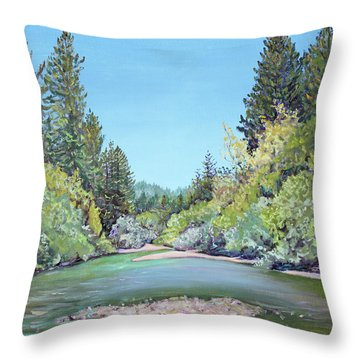 Summer Day On The Gualala River Throw Pillow by Asha Carolyn Young