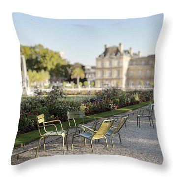 Summer Day Out At The Luxembourg Garden Throw Pillow