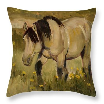 Throw Pillow featuring the painting Summer Days by Billie Colson