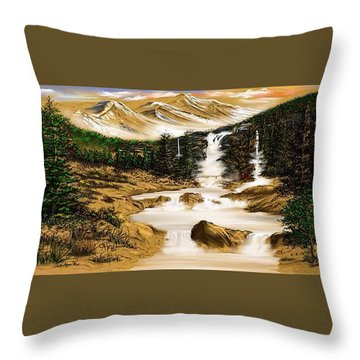 Throw Pillow featuring the drawing Summer Evening Glow by Anthony Fishburne