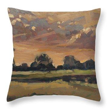 Summer Evening In The Polder Throw Pillow