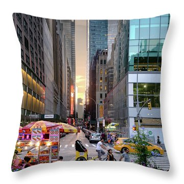 Throw Pillow featuring the photograph Summer Evening, New York City  -17705-17711 by John Bald