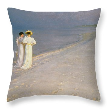 Summer Evening On The Skagen Southern Beach With Anna Ancher And Marie Kroyer Throw Pillow by Peder Severin Kroyer