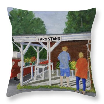 Summer Farm Stand Throw Pillow