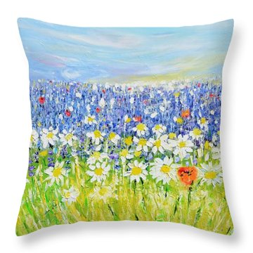 Summer Field Throw Pillow by Evelina Popilian
