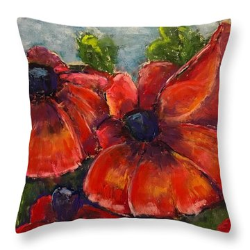 Summer Field Of Poppies Throw Pillow