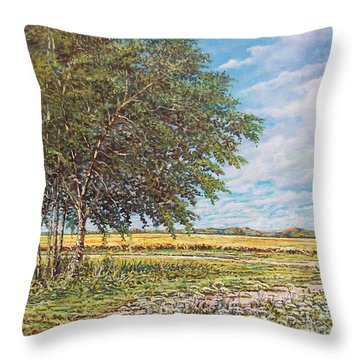 Summer Field Throw Pillow