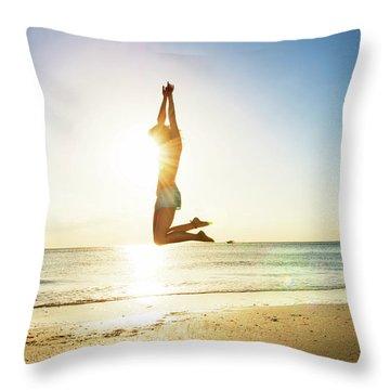 Summer Fitness Girl Throw Pillow