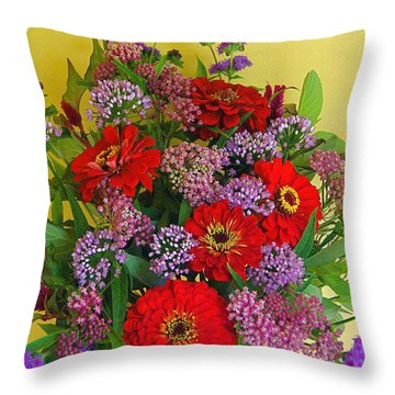 Throw Pillow featuring the photograph Summer Flower Bouquet by Byron Varvarigos