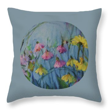 Summer Flower Garden Throw Pillow