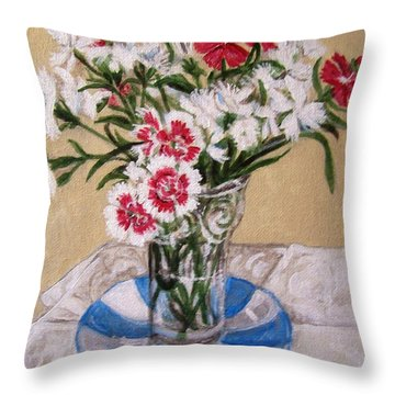 Throw Pillow featuring the painting Summer Flowers by Laura Aceto