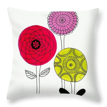 Throw Pillow featuring the mixed media Summer Flowers by Lisa Noneman