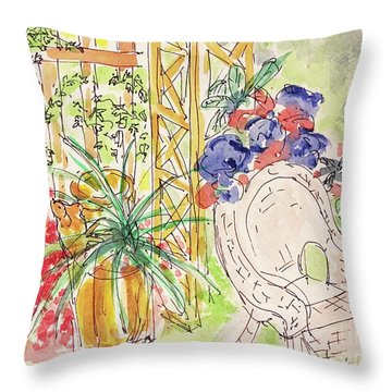 Throw Pillow featuring the drawing Summer Garden by Barbara Anna Knauf
