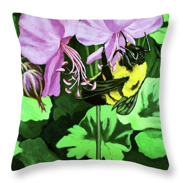 Throw Pillow featuring the painting Summer Garden Bumblebee And Flowers Nature Painting by Linda Apple