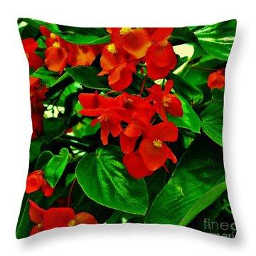 Summer Geranium Throw Pillow by Marsha Heiken