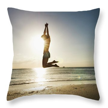 Summer Girl Summer Jump  Throw Pillow
