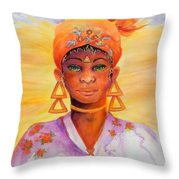 Summer Goddess Throw Pillow