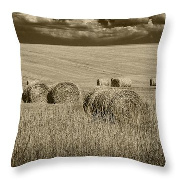 Summer Harvest Field With Hay Bales In Sepia Throw Pillow