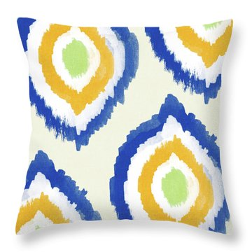 Summer Ikat- Art By Linda Woods Throw Pillow