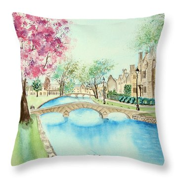 Throw Pillow featuring the painting Summer In Bourton by Elizabeth Lock