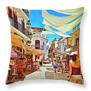 Throw Pillow featuring the photograph Summer In Malaga by Mary Machare