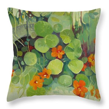 Throw Pillow featuring the painting Summer In The Garden by Elena Oleniuc