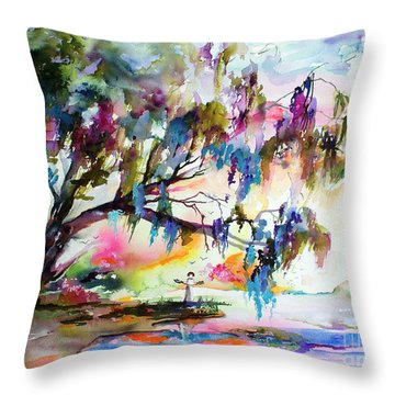 Summer In The Garden Of Good And Evil Watercolor Throw Pillow