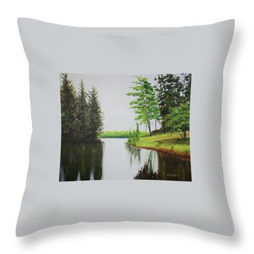 Summer Lake Throw Pillow
