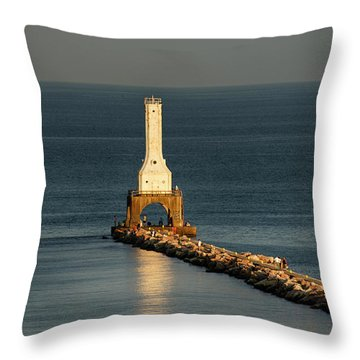 Summer Lighthouse Throw Pillow