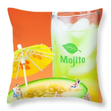 Throw Pillow featuring the photograph Summer Memory Little People On Food by Paul Ge