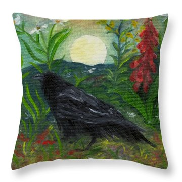 Summer Moon Raven Throw Pillow