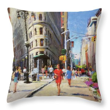 Summer Morning At Flatiron Plaza Throw Pillow by Peter Salwen