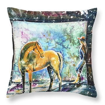 Throw Pillow featuring the painting Summer Morning At The Barn by Zaira Dzhaubaeva