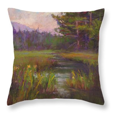 Summer Morning Beaver Marsh Throw Pillow by Susan Williamson