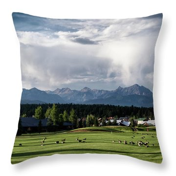 Summer Mountain Paradise Throw Pillow