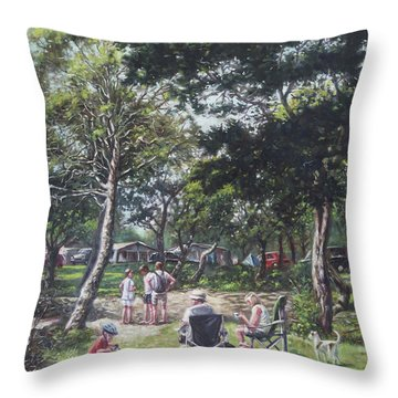 Summer New Forest Picnic Throw Pillow