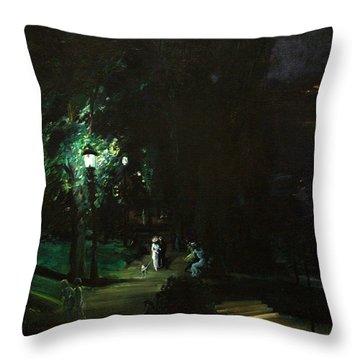 Summer Night Riverside Drive Throw Pillow