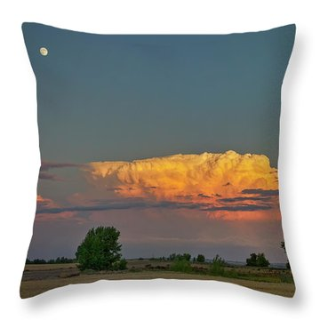 Throw Pillow featuring the photograph Summer Night Storms Brewing And Moon Above by James BO Insogna