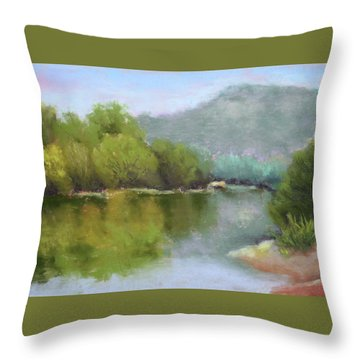 Throw Pillow featuring the painting Summer On The River by Nancy Jolley