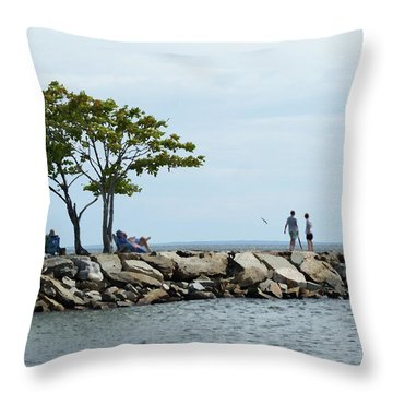 Summer On The Rocks Throw Pillow