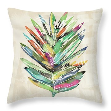 Throw Pillow featuring the mixed media Summer Palm Leaf- Art By Linda Woods by Linda Woods
