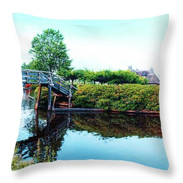 Throw Pillow featuring the photograph Summer Panorama Of  In Old Dutch Village by Ariadna De Raadt