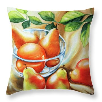 Summer Pears Throw Pillow