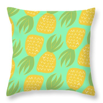 Summer Pineapples Throw Pillow by Allyson Johnson
