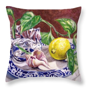 Throw Pillow featuring the painting Summer Plate by Laura Aceto