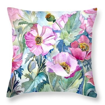 Throw Pillow featuring the painting Summer Poppies by Iya Carson