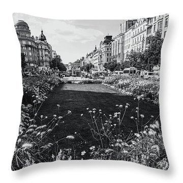 Throw Pillow featuring the photograph Summer Prague. Black And White by Jenny Rainbow