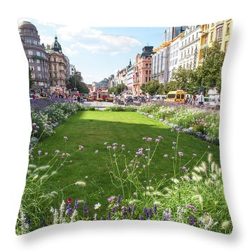 Throw Pillow featuring the photograph Summer Prague by Jenny Rainbow